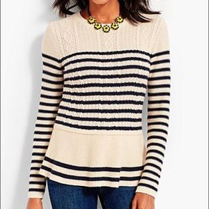 New Talbots Cable Knit Striped Sweater peplum